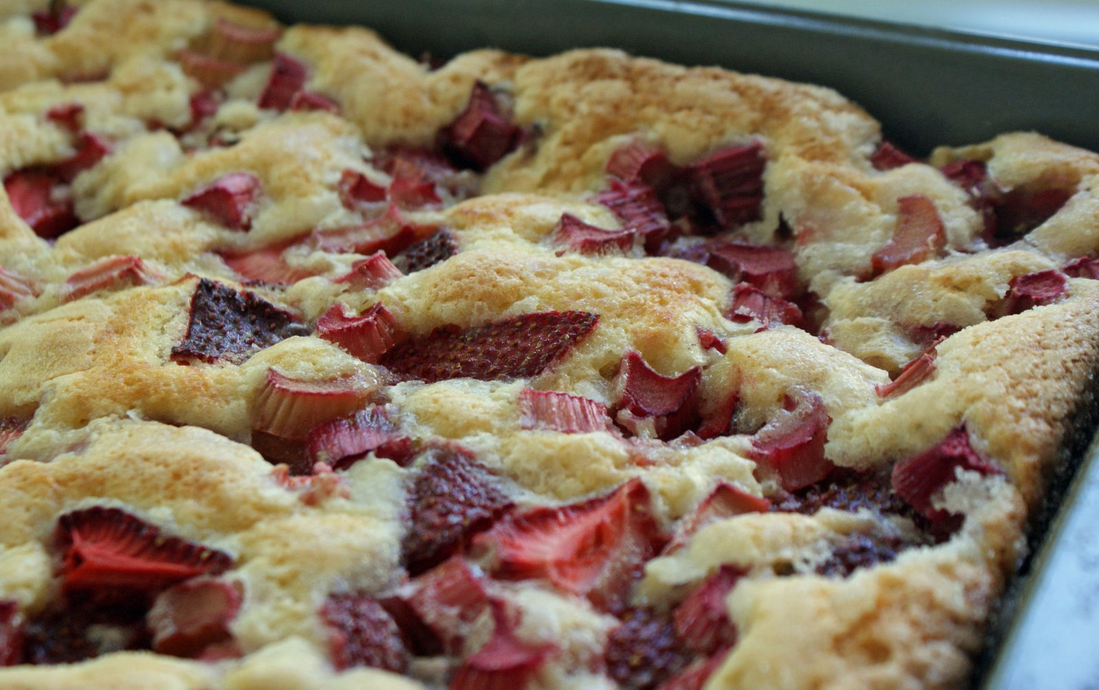 Strawberry-Rhubarb Cobbler Cake - Dinner With Julie