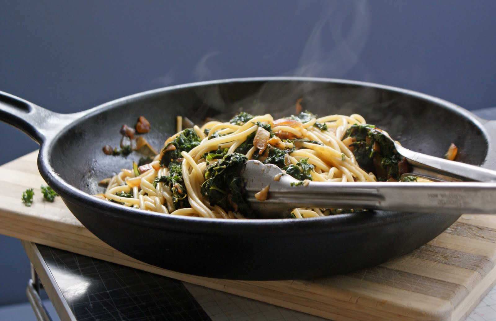 Spaghetti with Braised Kale - Dinner With Julie