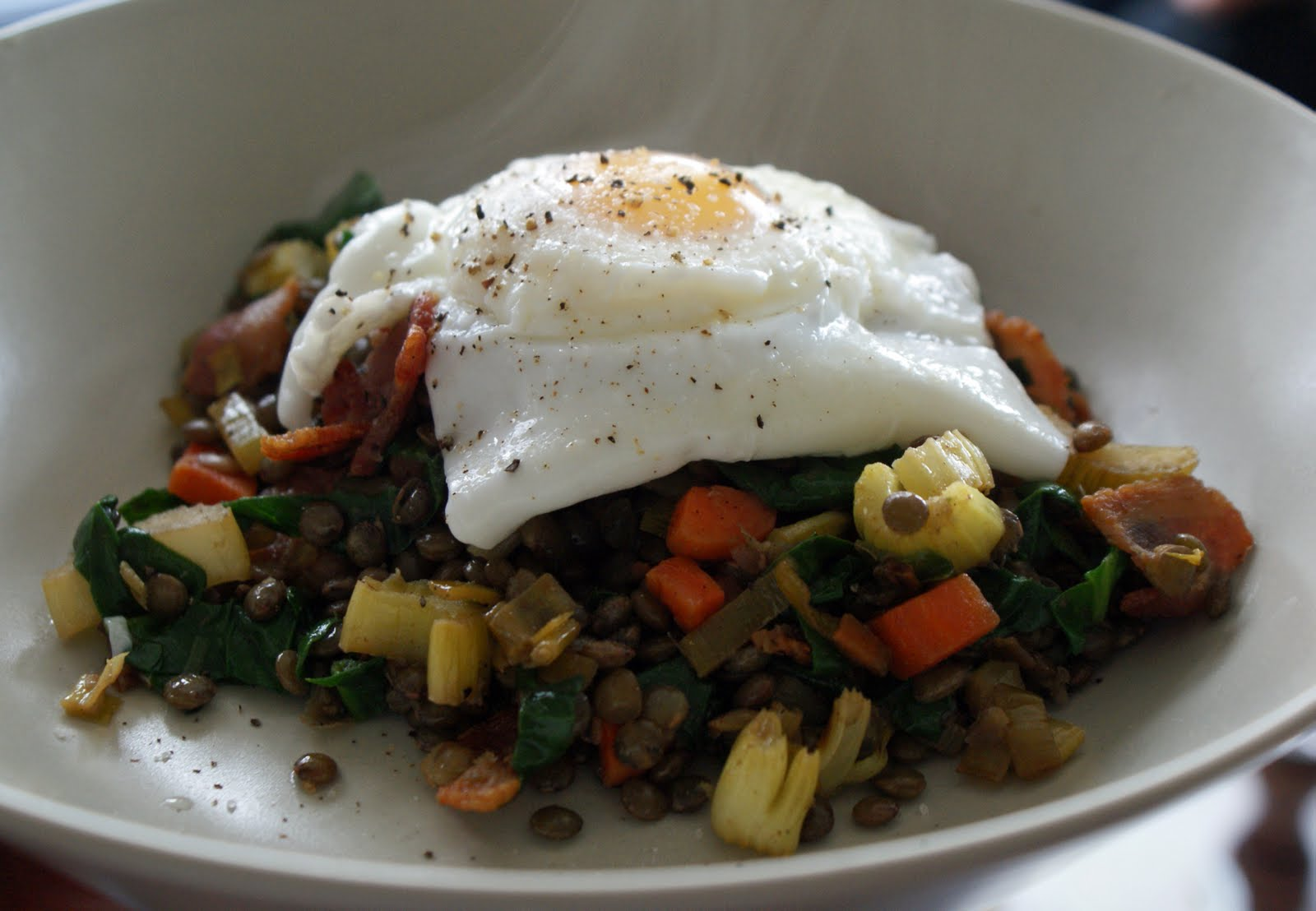 Poached Eggs Over Warm Lentil Salad with Bacon - Dinner With Julie