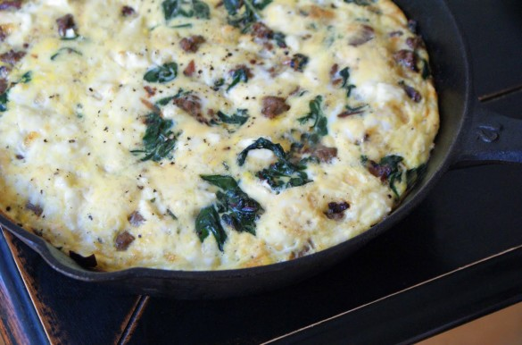 Chard, Sausage and Feta Frittata - Dinner With Julie