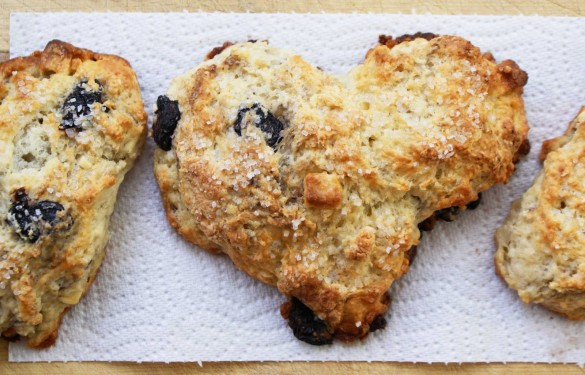 Heart- Shaped White Chocolate and Cherry Scones - Dinner With Julie