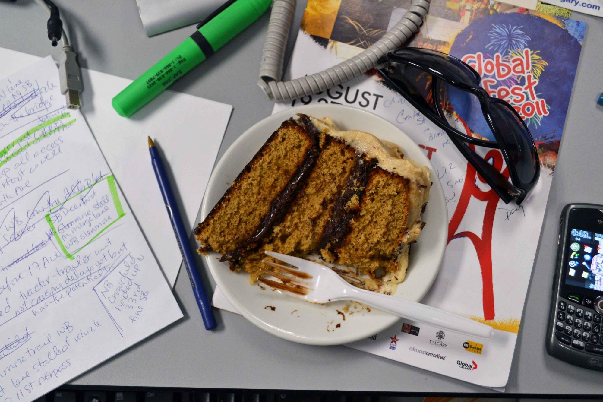 Cake on desk