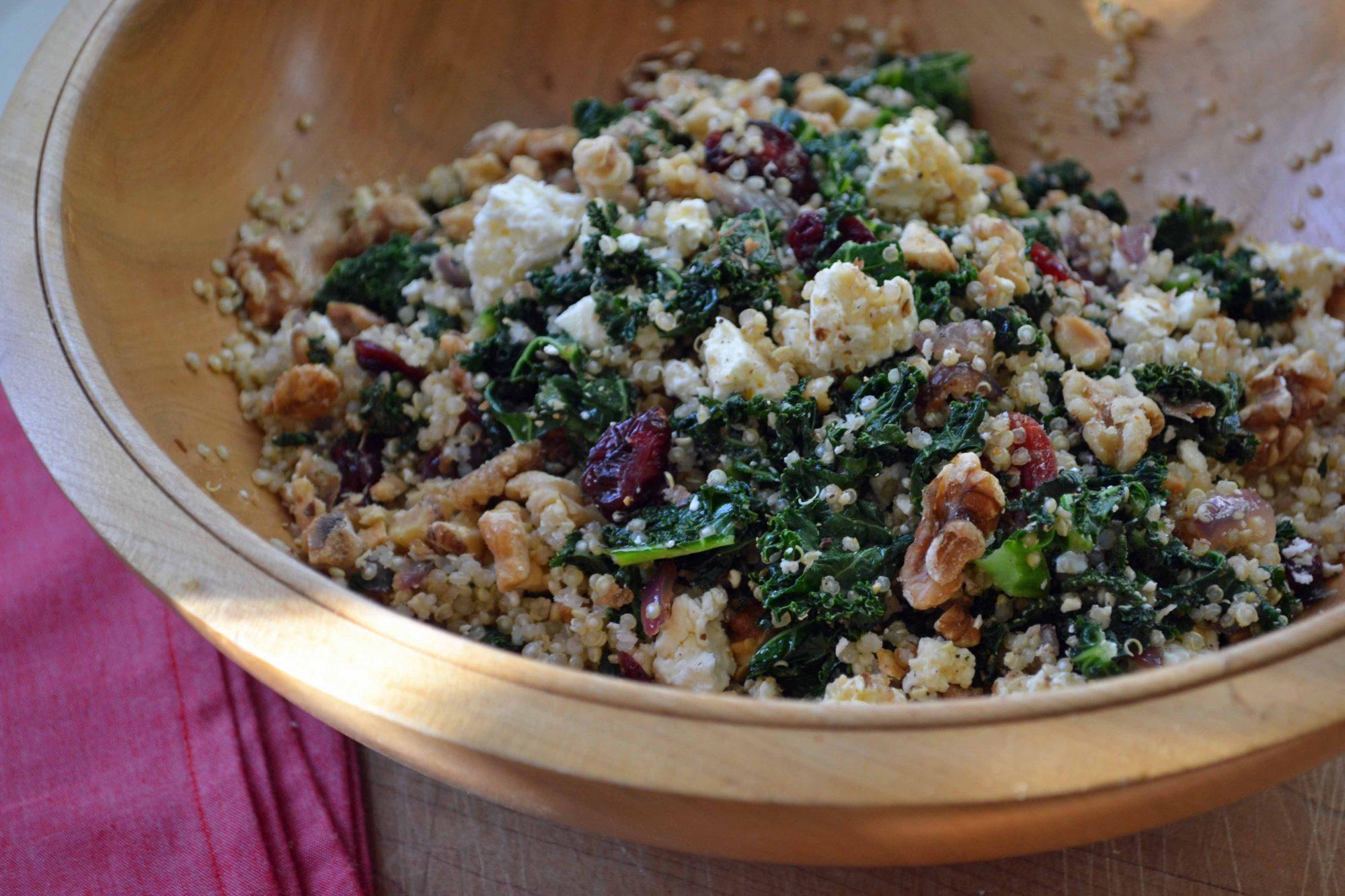 Quinoa, Kale, Feta & Walnut Salad