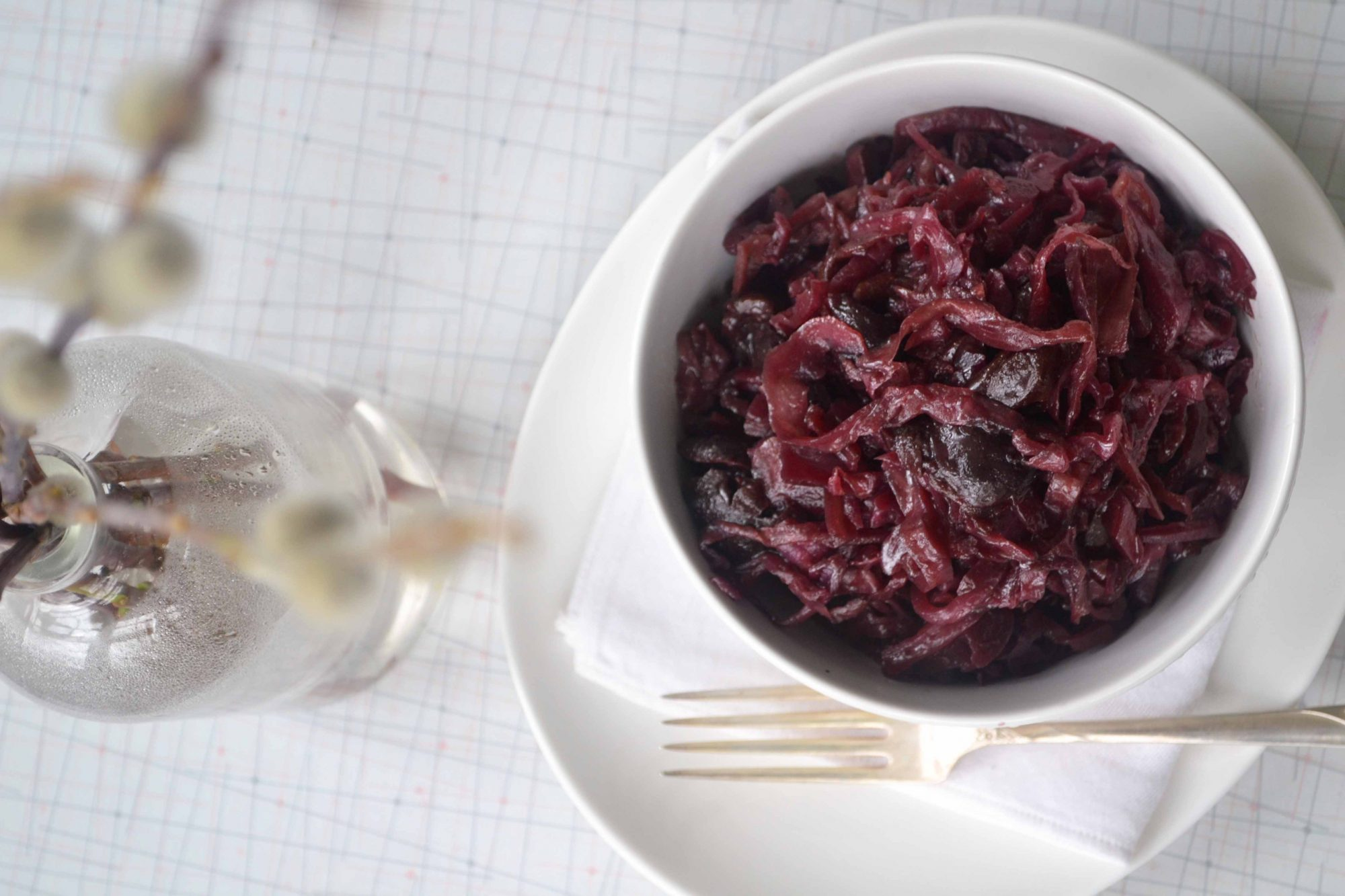 Braised red cabbage & cherries 1