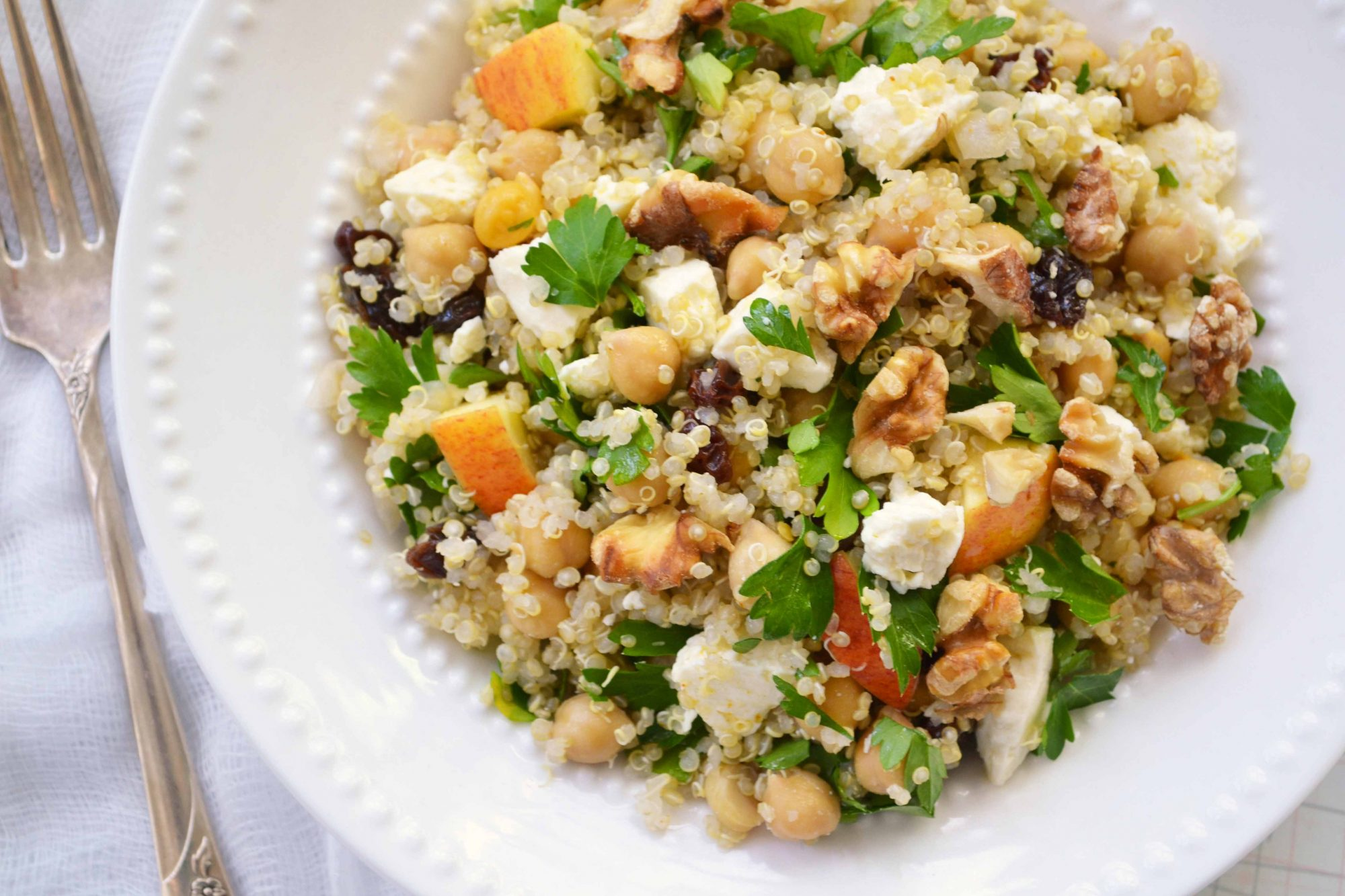 Quinoa salad w apples and feta