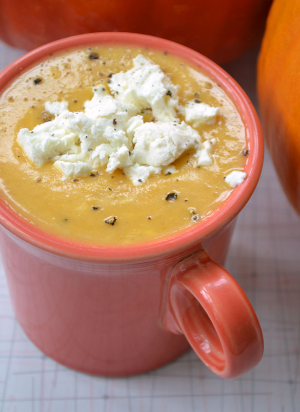 pumpkin soup w goat cheese