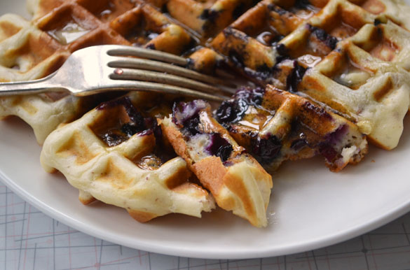 Pecan waffles with blueberries 2