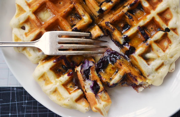 Pecan waffles with blueberries 4