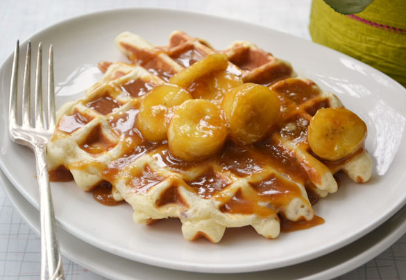 Pecan waffles with salted caramel bananas