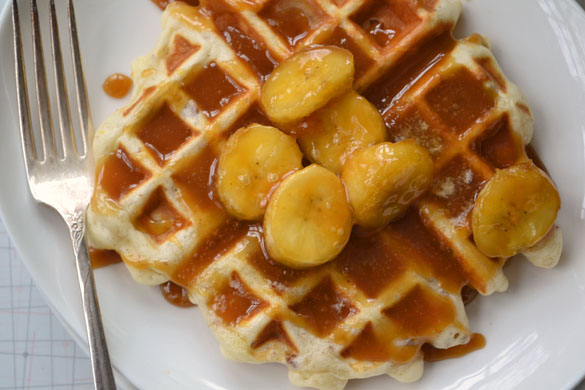 Waffles with Salted Caramel Bananas 2