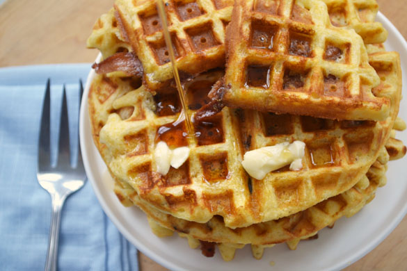 Bacon Cornmeal Waffles 4