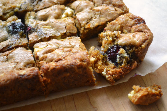 Blackberry white chocolate blondies 4