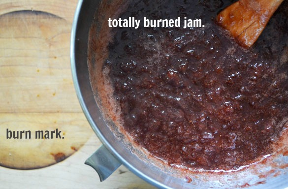 Strawberry rhubarb jam - burned 2