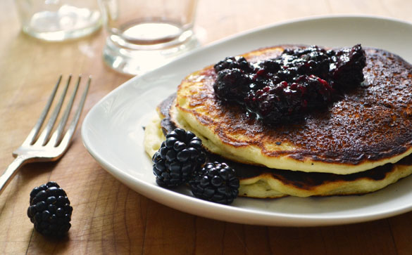 Lemon Ricotta Pancakes with Smashed Blackberries - Dinner With Julie