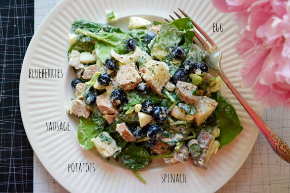 Moms spinach sausage salad