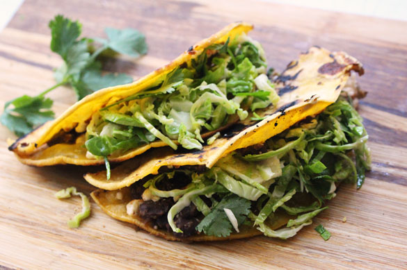 Crispy Black Bean & Feta Tacos with Brussels Sprout Slaw - Dinner With ...