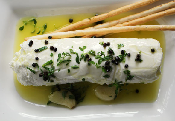 Goat Cheese with Garlicky Herbed Olive Oil - Dinner With Julie
