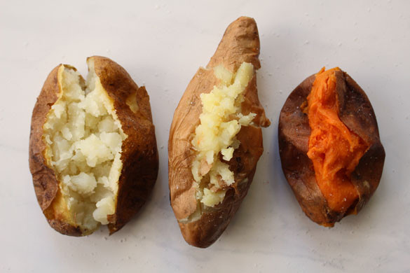 Trio of baked potatoes