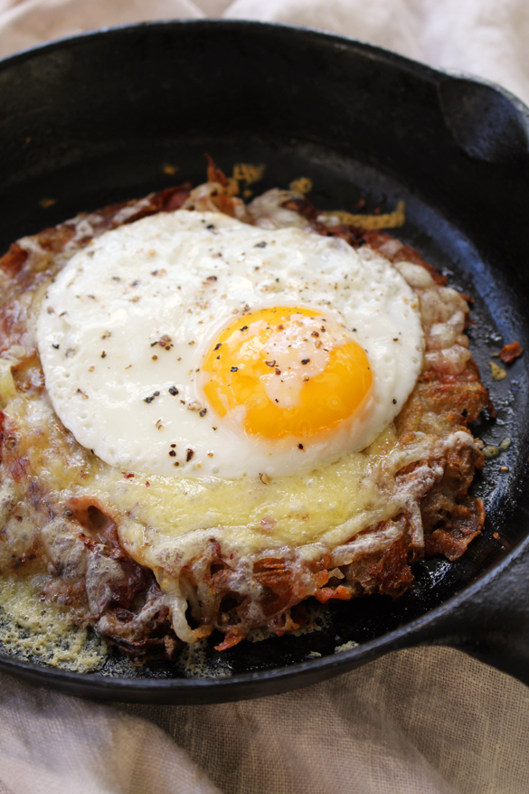 Crispy Potato Rösti with Salami, Cheese + Fried Eggs