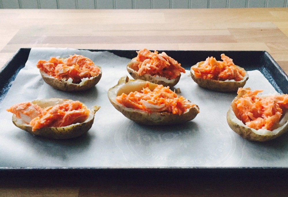 Buffalo Chicken Potato Skins Recipe — Dishmaps