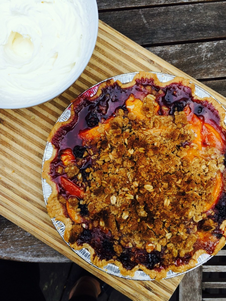Stone fruit crumble pie 5