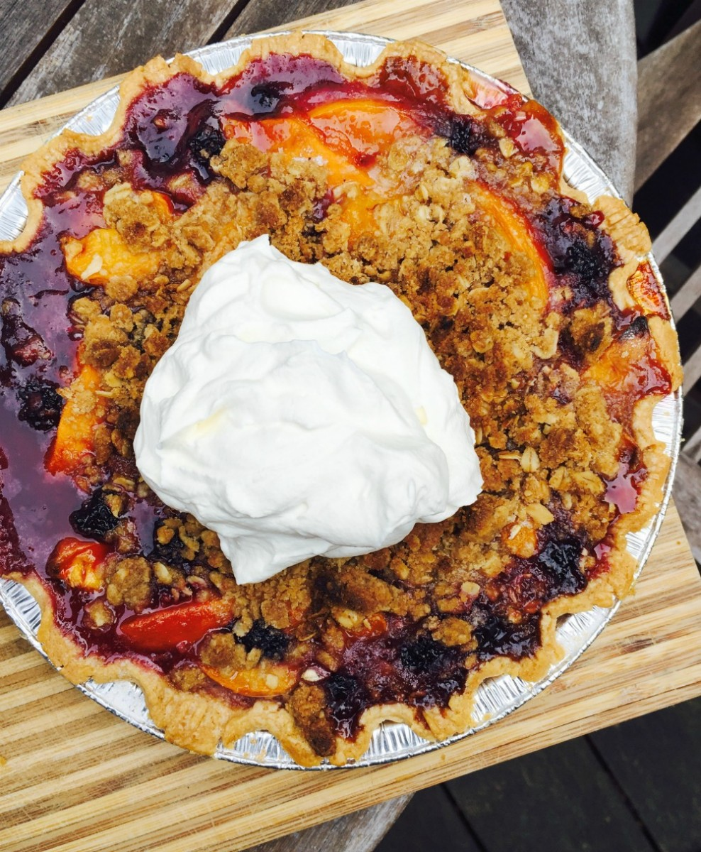 Stone fruit crumble pie 7