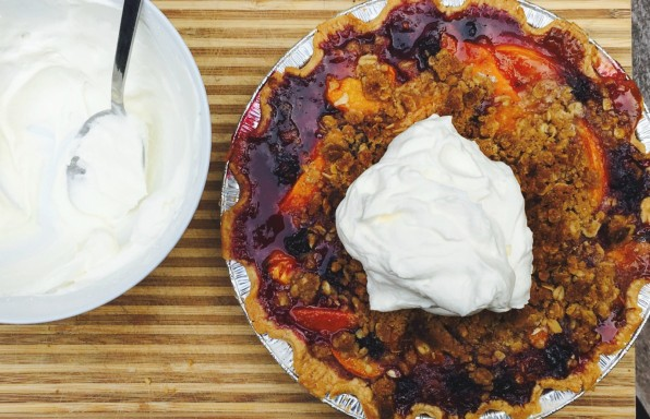 Stone fruit crumble pie 9