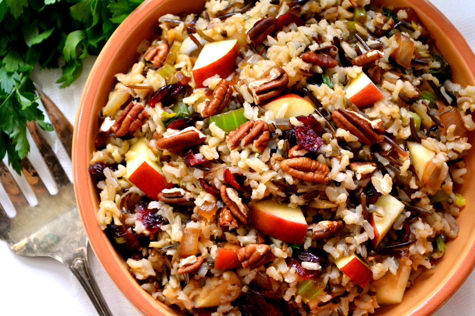 Brown Amp Wild Rice Stuffing With Apples Cranberries