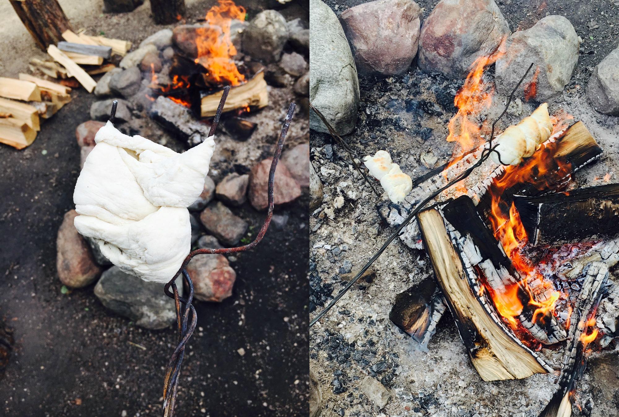 Bannock over a fire