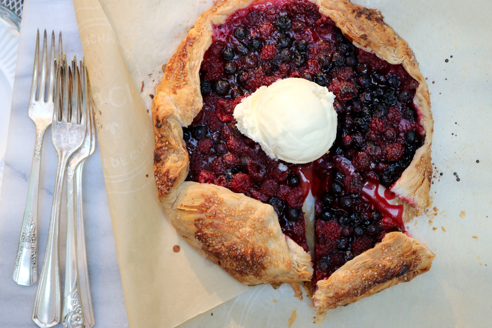 Raspberry-Saskatoon Galette - an easy, summery free-form pie