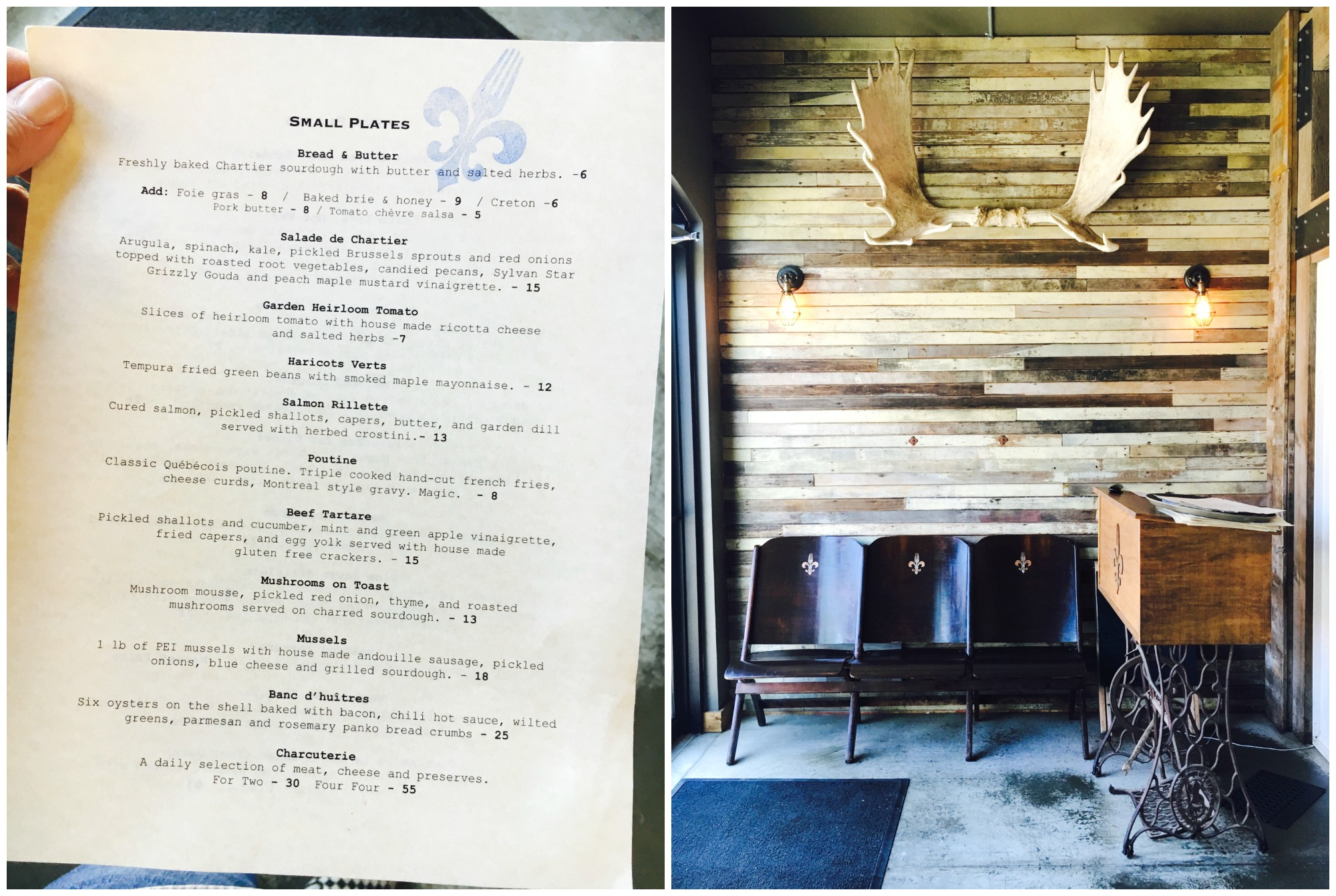 Chartier menu + entrance