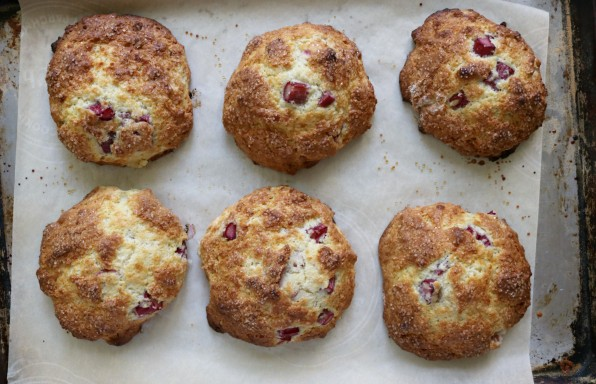 Rhubarb Sour Cream Drop Scones