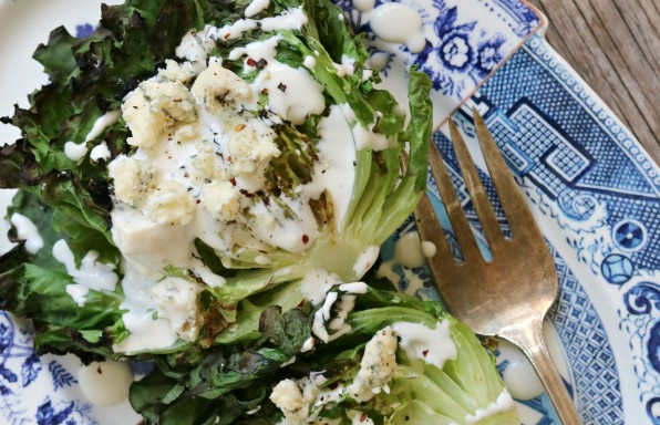 Grilled Lettuce with Blue Cheese Dressing