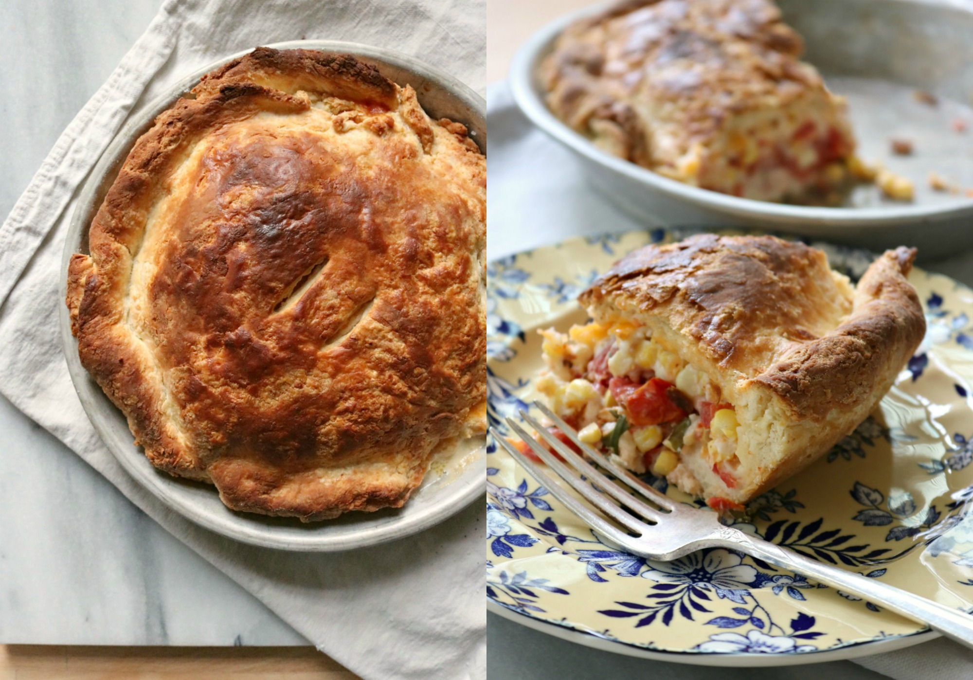 Tomato & Corn Biscuit Pie