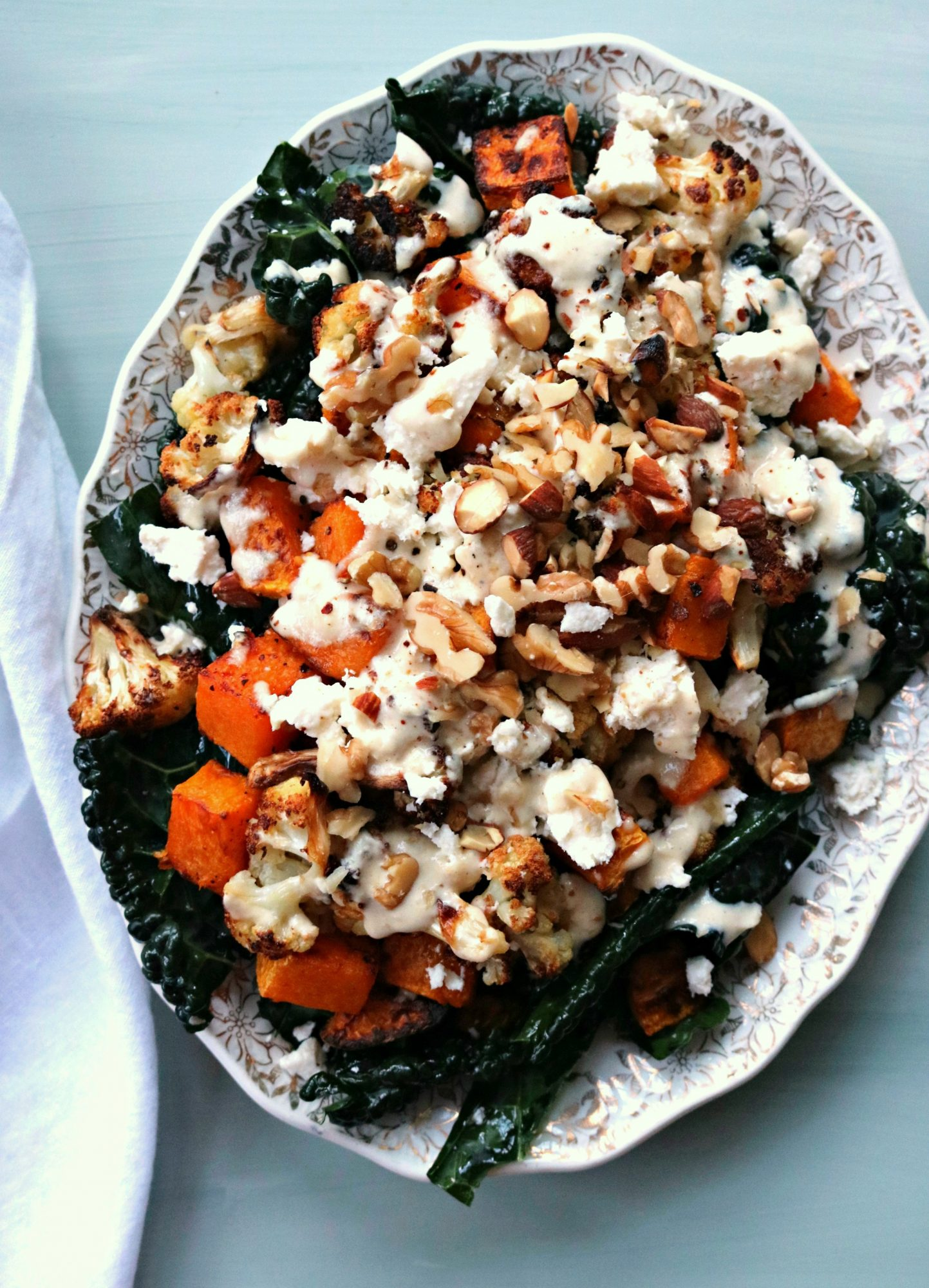 Roasted Cauliflower + Squash with Kale + Tahini Dressing