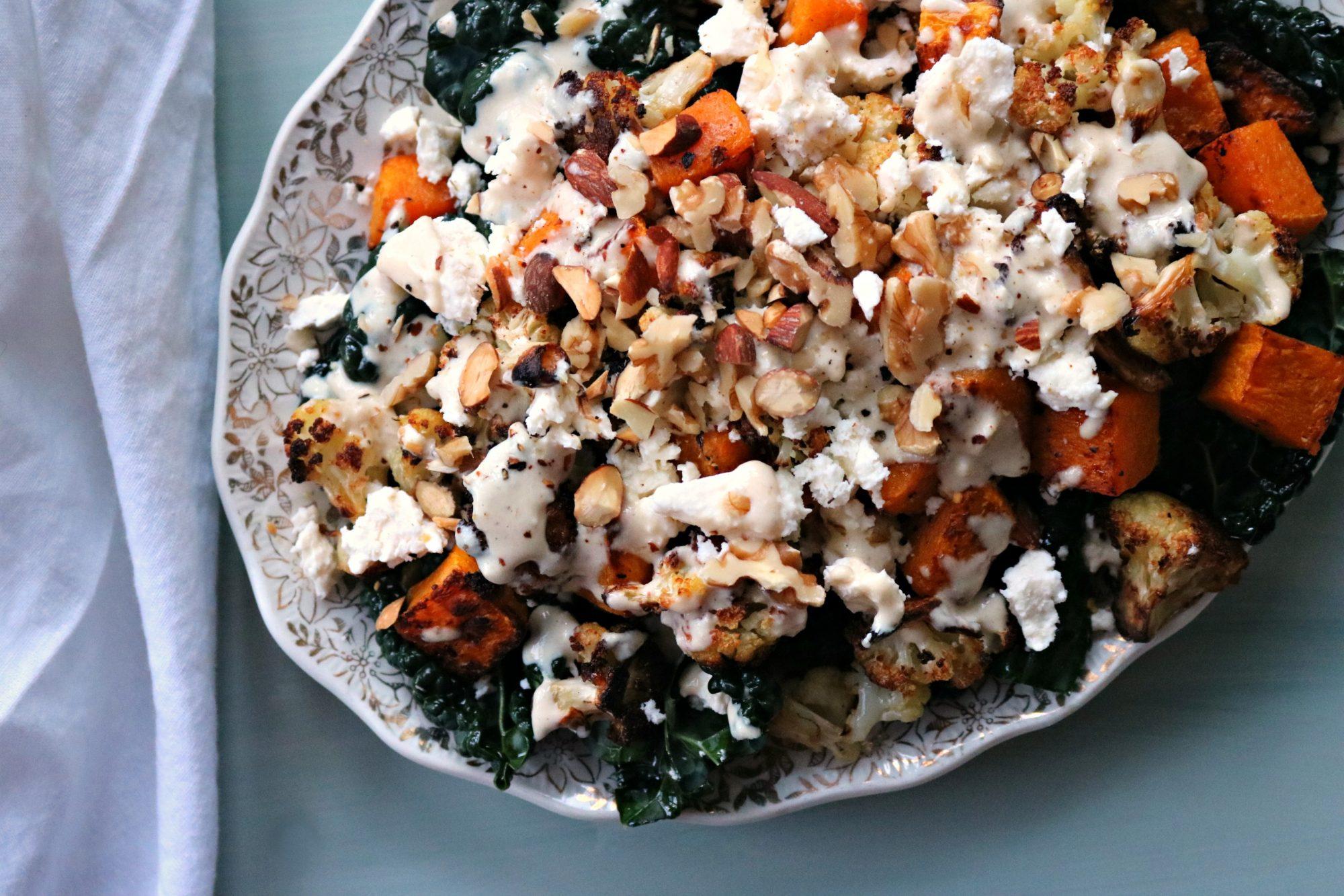 Roasted Cauliflower + Squash with Kale + Tahini Dressing