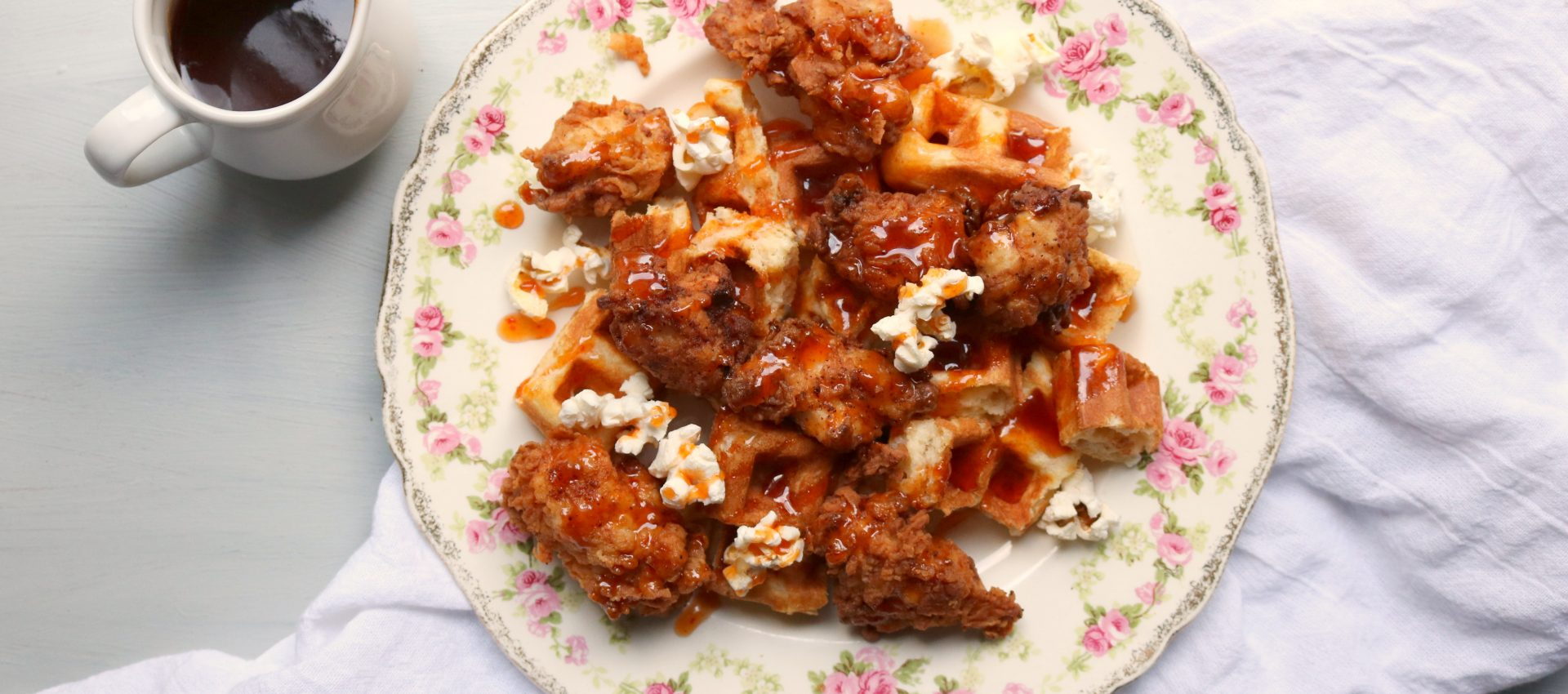 Popcorn Chicken and Waffle Bits