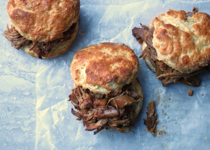 Pulled pork on biscuits