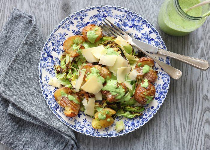 Charred Cabbage and Crispy Potatoes with Jalapeño-Garlic-Cilantro Sauce