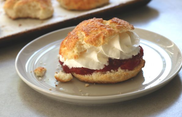 Raspberry-rhubarb shortcakes