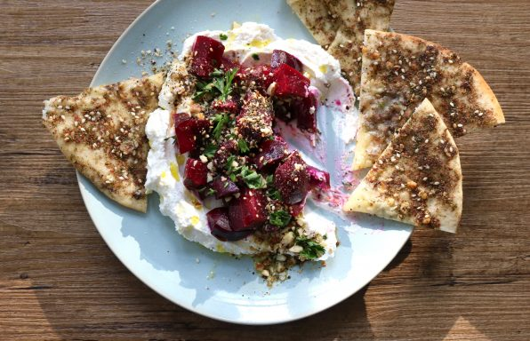 Roasted Beets with Whipped Feta, Lemon and Dukkah